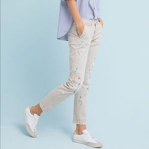 Anthropologie chino relaxed paint splattered pants